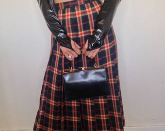 Vtg 90's RETRO PREPPY plaid wool maxi pleated skirt XS