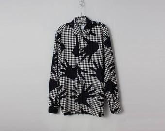 MOSCHINO vintage hand print check shirt XL
