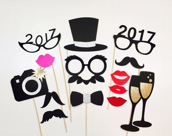New Years Photo Booth Props Set of 15 New Years Photo Props New Years Eve Decorations New Years Eve Wedding New Years Eve Party
