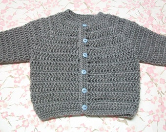 Newborn Cardigan, 0 to 3 Months Gray Baby Sweater, Gray Crochet Baby Cardigan,  Newborn Gray Sweater
