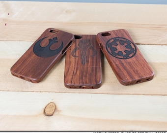 iPhone 6 Star Wars phone case - Wood case engraved with Star Wars Icon