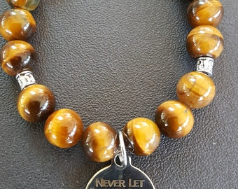 Tiger Eye Inspirational Charm Bracelet/Gift for Me/Birthday Gift/Motivational Bracelet/Inspirational Bracelet