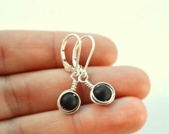 Black sea glass earrings lever back earrings leverback sterling silver earrings sea glass jewelry black earrings wire wrapped earrings