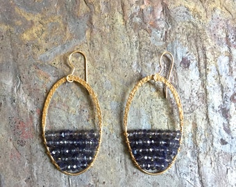 Gold hoop statement earrings with Iolite gemstones