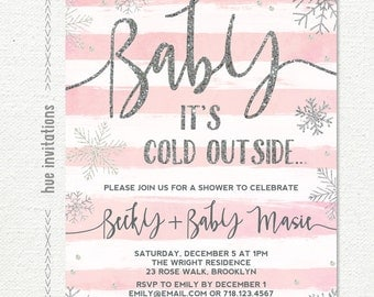 snowflake baby shower invitation for girl, pink white stripes silver glitter, baby it's cold outside shower invite, printable digital file