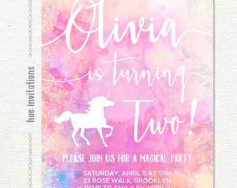 unicorn 2nd birthday invitation, girls rainbow second birthday party invitation, pink purple watercolor, customized printable digital file