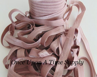 Taupe Fold Over Elastic for Baby Headbands - 5 Yards of 5/8 inch FOE Craft Embellishement - Neutral Solid Color Shade Elastic By The Yard