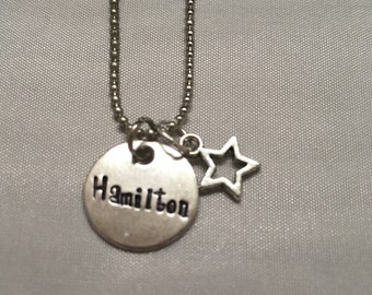 Hamilton Star Musical Broadway Handstamped Necklace - Hamilton Necklace Rise Up