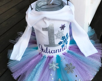 Winter Wonderland Cake Smash Outfit / Blue Sparkly Tutu / Frozen Birthday Outfit / Custom SHIRT Design / Tutu NOT Included!