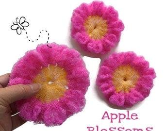 "Dish Scrubbies,Flower Nylon Pot Scrubber- Apple Blossom Dish Scrubbers, 3 Apple Blossoms, Durable  Approx 4 1/2"" Dia., Great on Teflon & All"