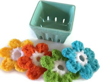 Dish Scrubbies Berry Basket Gift Set,You Choose the Basket and the Flower Colors, 4 Colorful Flower Scrubbies,In Ceramic Berry Basket, Gift