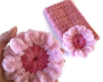 Dish Scrubbies Gift Set,2 Cherry Blossom Crocheted Nylon Scrubbies & 1 Pink Cotton Hand-Knit Dishcloth,Eco Friendly,Kitchen Decor-Gift