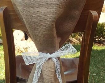Burlap Chair Sash - Lace Chair Swag - Burlap Chair Cover - Burlap Chair Tie - Wedding Chair Sash - Rustic Wedding Chair Sash - Set of 4