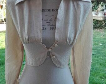 Perfect chic elegant beige damask vintage blouse bolero jacket shirt English shirt women's vintage disco party