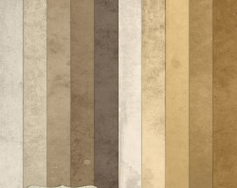 """Digital Printable Scrapbook Craft Paper - Grunge Vintage Single Solid Colour Papers in Brown Shades - 12 x 12"""" - PU/CU Commercial Use"""