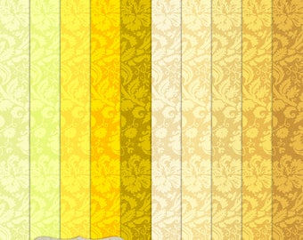 """Digital Printable Scrapbook Craft Paper - Tudor Damask in Yellow Shades - Gold Orange Pastel Yellow - 12 x 12"""" - PU/CU Commercial Use"""