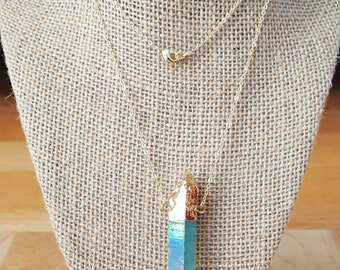 Blue Titanium AB Quartz Crystal Point Necklace 14K gold filled Necklace / Long Necklace / Boho Jewelry / Boho Luxe / Aqua Aura / Crystal