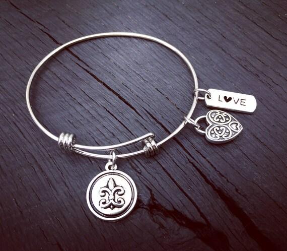 Fleur De Lis Charm Bracelet: Fleur De Lis Bracelet Fleur De Lis Jewelry Stackable