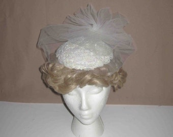Vintage Sequins Design Hat With White Lace Tulle, Wedding,Church