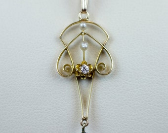 Vintage 14k Gold Pearl and Diamond Lavaliere Pendant