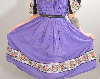 Purple Festival Dress// 60s Hippie Dress// Peasant Girl Dress