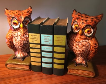 1976 set of vintage ceramic owl bookends by Atlantic Mold