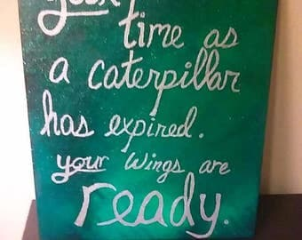 """Your Wings Are Ready green glitter silver quote canvas word art home decor 8""""x10"""""""