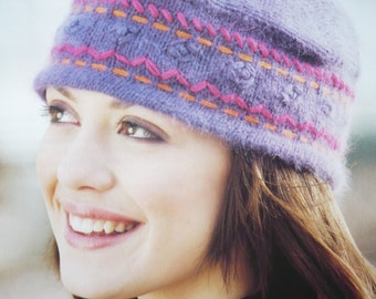 Embroidered Cap Hat Ladies Women Teens Hand Knitted Wool Blend
