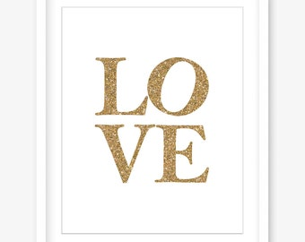 Printable love art - gold print - gold glitter printable art - love printable poster - gold wall decor - gold printable - DIGITAL DOWNLOAD