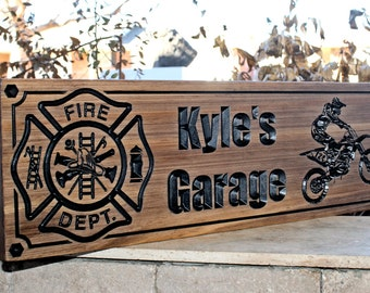 Firefighter Sign-Fire Station sign-Fire Department Sign-Custom sign-Personalized Wood Sign-Firefighter Gift-(CWD-399)