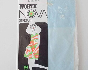 Vintage 1960's Leon Worth Nova Stockings Nylons Burlesque Glamour Pin-Up Barely Blue Colour Hosiery New Old Stock