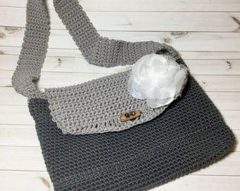 Summer Boho Crochet Purse, Crochet Bag with White Rose, Grey Handbag with Shoulder Strap