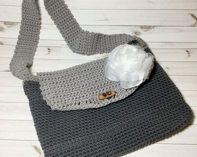 Summer Boho Crochet Purse, Crochet Bag with White Rose, Grey Handbag with Shoulder Strap