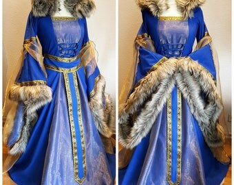 Custom made Medieval Dress, Renaissance Gown, LARP and Fantasy, Wedding Dress with Hood