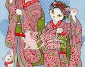 Dancing Japanese kimono c...
