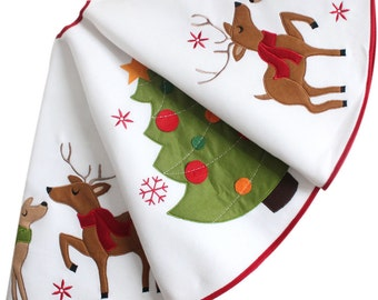 Reindeer applique embroidery Christmas tree skirt White Christmas Tree Skirt modern christmas tree skirt