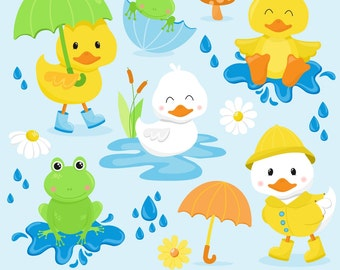 80% OFF SALE Duck Clipart, Frog Clipart, Spring Clipart, April Showers Clipart, Duck Graphics, Frog Graphics, Printable, Commercial Use