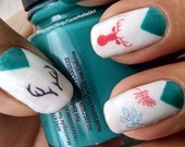 Colorful Wilderness - Water Slide Nail Decals with deer and antlers