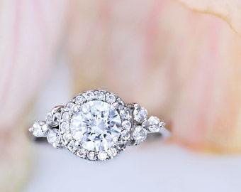 Engagement Ring  3.91 Carat Round Cut Diamond Engagement Ring 14K White Gold #J37756 FREE SHIPPING