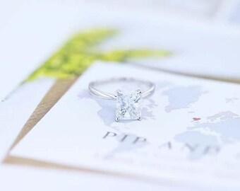 Diamond Engagement Ring 18K White Gold 1.08 Carat Radiant Cut FREE SHIPPING