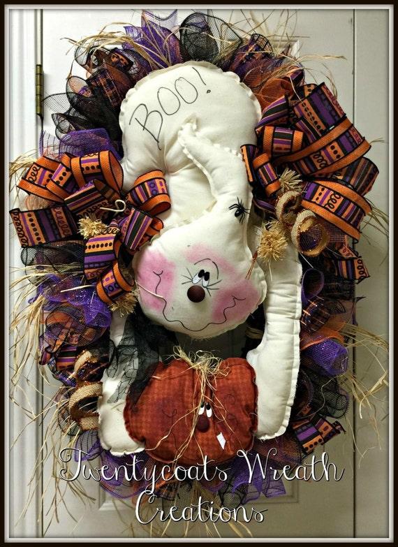 REDUCED!!!!  Halloween wreath-Primitive Ghost Wreath-grapevine wreath-deco mesh ghost wreath