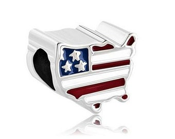 USA Bead, America Charm, Map Bead, Large Hole Bead, European Bead, Charm Bead, Charm Bracelet, European Charm, Big Hole, Red, Blue, White