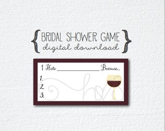 Wine Theme Bridal Shower Creative Game - Household Chores - Fill in the Blank