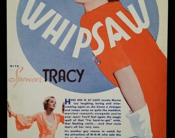 Original 1935 Whipsaw Herald Movie Poster, RARE, Myrna Loy, Spencer Tracy, Vintage, Retro