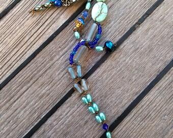 Seahorse Small Accent Art Mixed Media Nautical Decor Turquoise Cobalt Powder Blue 'Blue Gardens'
