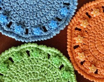 Set of 3 Crochet Summer Coasters