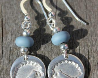 Hedgehog bead earrings, hedgehog drop earrings, blue bead earrings, blue drop earrings, silver drop earrings, silver hedgehog earrings