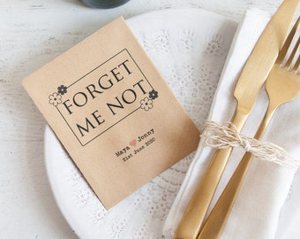 10 Forget Me Not Personalised Seed Packet Favours