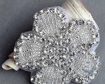 Wholesale lot   10pcs flower  Bridal wedding rhinestones applique / beaded rhinestones motif / diamante applique 6cm