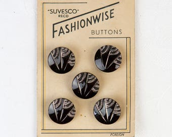 1950's Black and Gold - Washable Glass Buttons  - on original card